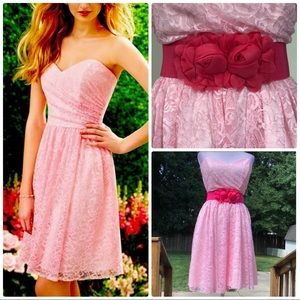 Pretty pink lace knee length